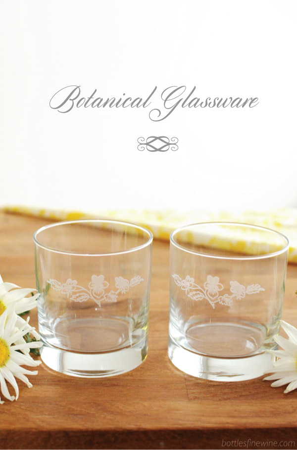 botanical themed glassware