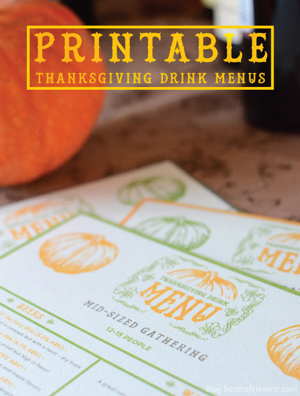 Printable Thanksgiving Drink Menus