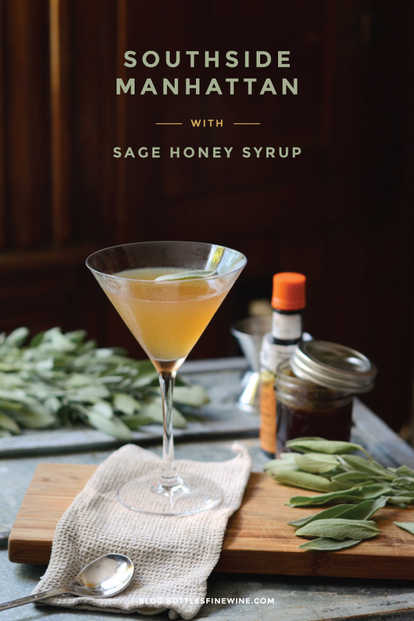 Southside Manhattan - cocktail recipe with rye whiskey and sage honey syrup